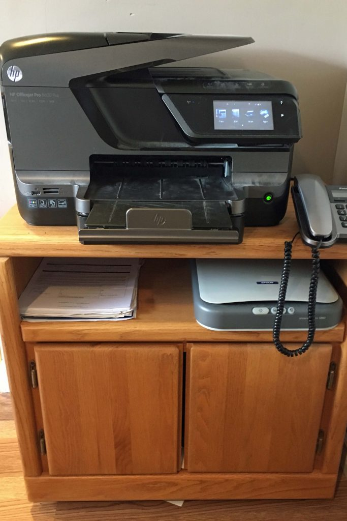 Our printer and scanner. paperless | reduce paper | digital |homeschool organization
