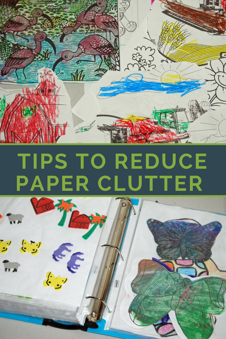 Tips to reduce paper clutter in your homeschool. Reduce paper clutter | digital | keepsakes | homeschool papers | minimize clutter