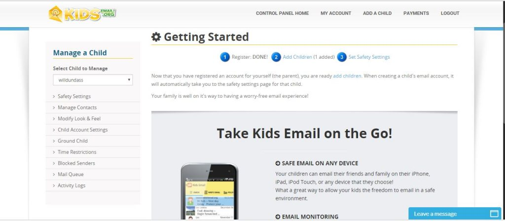 A screenshot of the parent control panel for Kids Email